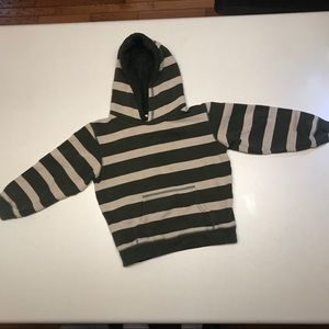 Gymboree green & tan striped hoodie-size 5-6